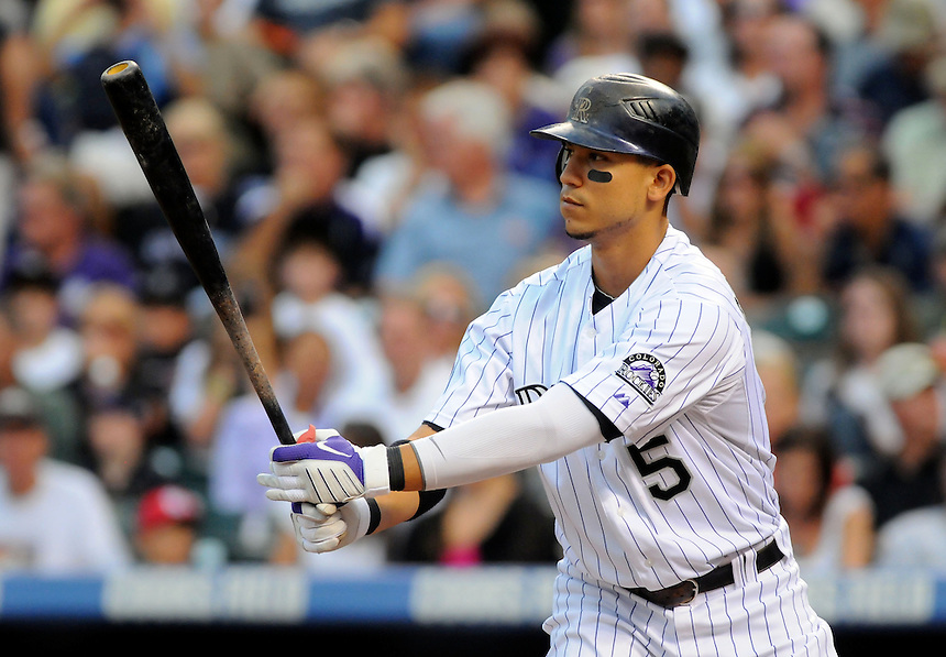 28 AUGUST 2010: Colorado Rockies center fielder Carlos Gonzalez (5) during a regular season Major League Baseball game between the Colorado Rockies and the Los Angeles Dodgers at Coors Field in Denver, Colorado. The Rockies beat the Dodgers 5-3.  *****For Editorial Use Only*****