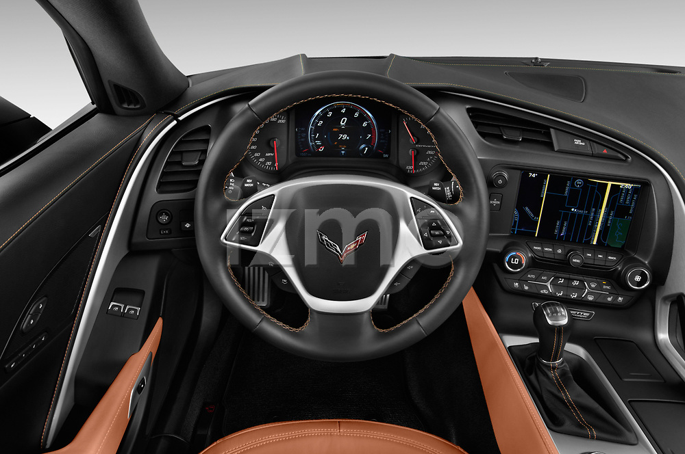 Car pictures of steering wheel view of a 2018 Chevrolet Corvette Stingray Coupe 2LT 3 Door Targa