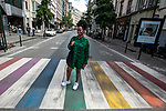 Brussels - Belgium - 29 June 2020 -- Rachael Moore, the Coordinator of the Brussels RainbowHouse, which shelters various French- and Dutch-speaking LGBTQI (lesbians, gays, bisexuals, transgenders, queers, intersexuals) organizations of the Brussels region. In the centre of Brussels are two pedestrian crossings in rainbow colours. — PHOTO: Juha ROININEN / EUP-IMAGES