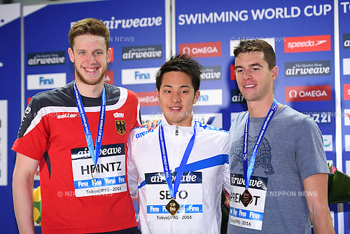 (L-R) Philip Heintz (GER), Daiya Seto (JPN), Josh Prenot (USA), <br /> OCTOBER 26, 2016 - Swimming : FINA Swimming World Cup Tokyo <br /> Men's 200m Individual Medley Award Ceremony <br /> at Tatsumi International Swimming Pool, Tokyo, Japan. <br /> (Photo by AFLO SPORT)