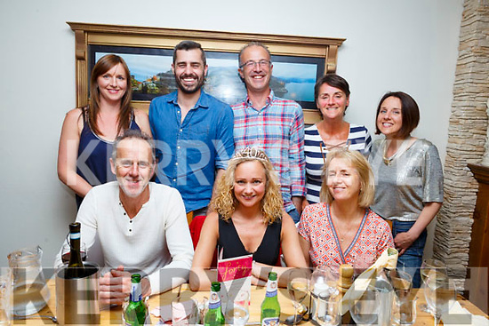 Rebecca Coffey from Tralee, seated, celebrating her big 40 birthday with friends in Bella Bia on Saturday night. <br /> <br /> Seated l-r, Sean and Rebecca Coffey and Deirdre Moss.<br /> Back l-r, Niamh Coffey, Matthew Smith, Ian Moss, Siobhan and Grainne Coffey.