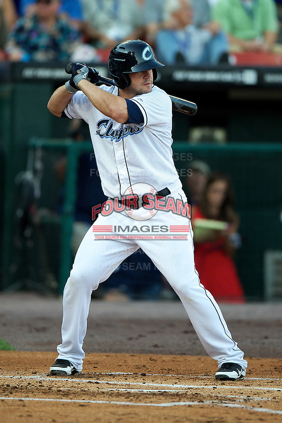 Columbus Clippers outfielder Matt LaPorta #6 during the Triple-A All-Star game featuring the Pacific Coast League and International League top players at Coca-Cola Field on July 11, 2012 in Buffalo, New York.  PCL defeated the IL 3-0.  (Mike Janes/Four Seam Images)
