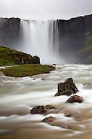 Fjarðará River cascading over Gullfufoss Falls, Seyðisfjörður, East Iceland, Iceland