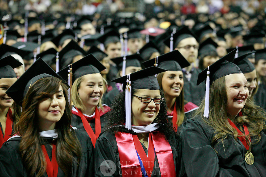 06122011 - Seattle University, Commencement, undergraduate ceremony 2011, smiling, students, excited, graduation