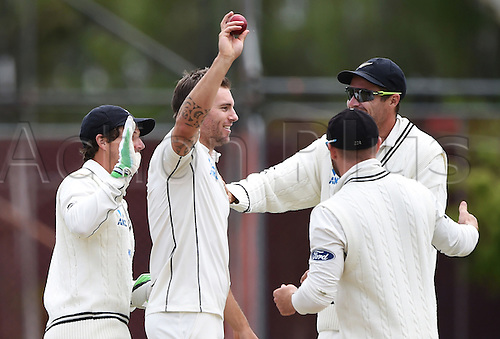 14.12.2015. Dunedin, New Zealand.  Doug Bracewell celebrates taking the last wicket as New Zealand win the test match on day 5 of the 1st cricket test match between New Zealand Black Caps and Sri Lanka at University Oval, Dunedin, New Zealand. Monday 14 December 2015.