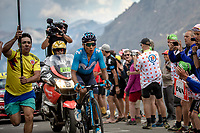 a blooded stage leader Nairo Quintana (COL/Movistar) up the Col du Galibier (HC/2622m/23km@5.1%)<br /> <br /> Stage 18: Embrun to Valloire (208km)<br /> 106th Tour de France 2019 (2.UWT)<br /> <br /> ©kramon