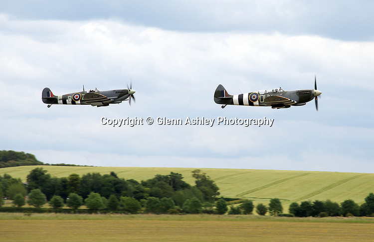 Supermarine Spitfire IXB and TR9 take to the air at the 75th Anniversary of the D-Day Landings, Duxford, United Kingdom, 5th June 2019. Photo by Glenn Ashley Photography