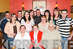 NIGHT OUT: Teresa Fennell, Kilflynn (seated centre) celebrated her 60th birthday in The Brogue Inn, Tralee, last Saturday.night with many family and friends. Included are Thomas, Elaine, Pat, Mary, Theresa, John, Noreen and Patsy.Daughton, Mag Flaherty, Annette Hannon, Mike and Mag Lynch.