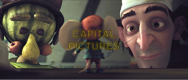 Soup genie Boldo (voiced by STANLEY TUCCI), noble mouse Despereaux (voiced by MATTHEW BRODERICK) and royal chef Andre (voiced by KEVIN KLINE).in The Tale of Despereaux.*Filmstill - Editorial Use Only*.CAP/FB.Supplied by Capital Pictures.