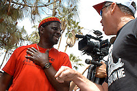 AJ Alexander - Bobby De Veux and David Jones argue about immagration at the SB1070 Opponents March to Arizona State Capitol on the one year anniversary of the SB1070 signing. On Saturday, April 23, 2011..Photo by AJ Alexander.www.ajaimges.photoshelter.com