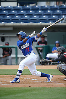 Johan Mieses (18) of the Rancho Cucamonga Quakes bats against the Lake Elsinore Storm at LoanMart Field on April 10, 2016 in Rancho Cucamonga, California. Lake Elsinore defeated Rancho Cucamonga, 7-6. (Larry Goren/Four Seam Images)