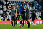 Real Sociedad's Mikel Merino (L) and Diego Javier Llorente (R) celebrate the victory during La Liga match between Real Madrid and Real Sociedad at Santiago Bernabeu Stadium in Madrid, Spain. January 06, 2019. (ALTERPHOTOS/A. Perez Meca)<br />  (ALTERPHOTOS/A. Perez Meca)