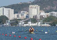Rio de Janeiro. BRAZIL.   2016 GBR M2- bow Alan SINCLAIR and Stewart INNES,  CAMPBELL moving away fro the start of his heat at the Olympic Rowing Regatta. Lagoa Stadium,<br /> Copacabana,  &ldquo;Olympic Summer Games&rdquo;<br /> Rodrigo de Freitas Lagoon, Lagoa. Saturday  06/08/2016 <br /> <br /> [Mandatory Credit; Peter SPURRIER/Intersport Images]