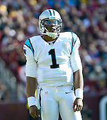 Carolina Panthers quarterback Cam Newton (1) waits for the play to come in in the first quarter against the Washington Redskins at FedEx Field in Landover, Maryland on Sunday, November 4, 2012..Credit: Ron Sachs / CNP