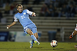 18 October 2013: North Carolina's Cooper Vandermaas-Peeler scores the game's only goal. The University of North Carolina Tar Heels hosted the Syracuse University Orangemen at Fetzer Field in Chapel Hill, NC in a 2013 NCAA Division I Men's Soccer match. UNC won the game 1-0.