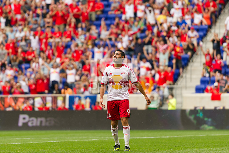 Fabian Espindola (9) of the New York Red Bulls celebrates scoring. The New York Red Bulls defeated the Houston Dynamo 2-0 during a Major League Soccer (MLS) match at Red Bull Arena in Harrison, NJ, on June 30, 2013.