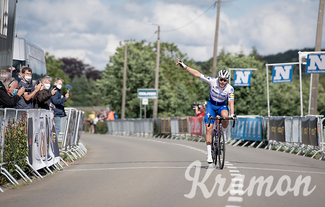 race winner Florian Sénéchal (FRA/Deceuninck - QuickStep) crossing the finish line solo<br /> <br /> the inaugural GP Vermarc 2020 is the very first pro cycling race in Belgium after the covid19 lockdown of Spring 2020 & which was only set up some weeks in advance to accommodate belgian teams by providing racing opportunities asap after the lockdown allowed for racing to restart (but still under strict quarantine / social distancing measures for the public, riders & press)<br /> <br /> Rotselaar (BEL), 5 july 2020<br /> ©kramon