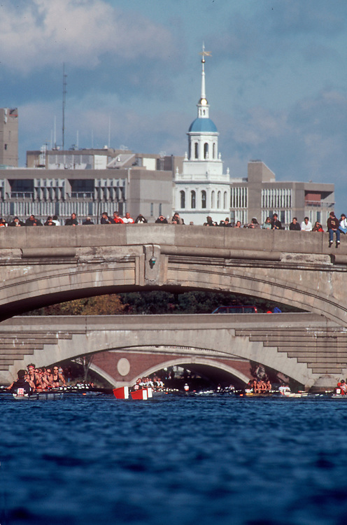 Rowing, Charles River bridges, Head of the Charles Rowing Regatta, Cambridge, Boston, Massachusetts, New England, USA,.