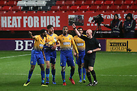 Mansfield players protest to referee, Kevin Johnson, after he allowed Charlton's third goal to stand. They believed a free-kick should have been awarded to them moments earlier during Charlton Athletic vs Mansfield Town, Emirates FA Cup Football at The Valley on 20th November 2018