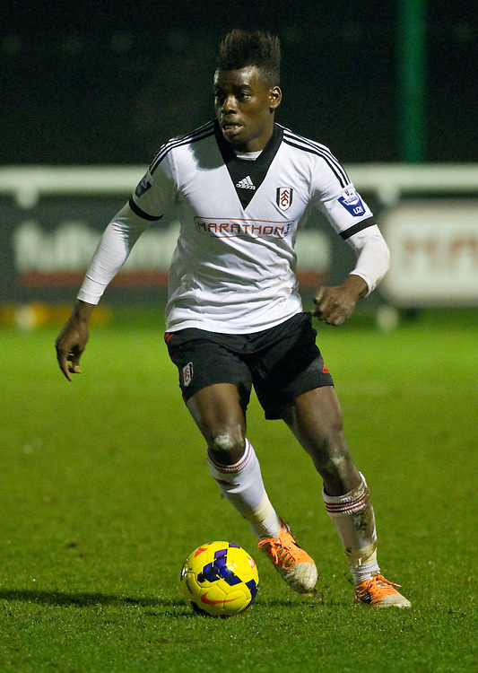 Fulham U21s Mananga Jonathan Buatu in action during todays match  against West Ham<br /> <br /> Photo by Ashley Western/CameraSport<br /> <br /> Football - Barclays U21 Premier League - Fulham U21 v West Ham, United U21 - Monday 20th January 2014 - Motspur Park - London<br /> <br /> &copy; CameraSport - 43 Linden Ave. Countesthorpe. Leicester. England. LE8 5PG - Tel: +44 (0) 116 277 4147 - admin@camerasport.com - www.camerasport.com