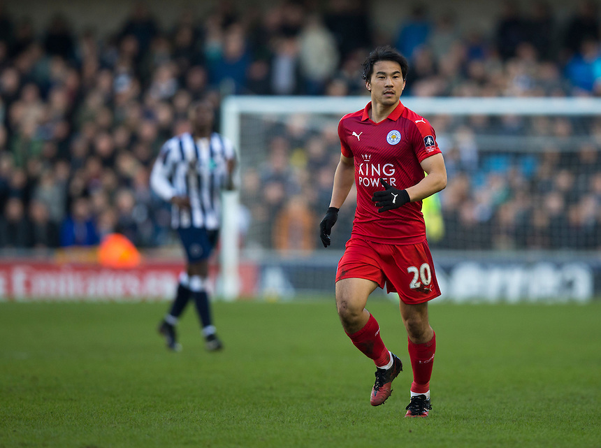 Leicester City's Shinji Okazaki in action<br /> <br /> Photographer Craig Mercer/CameraSport<br /> <br /> Emirates FA Cup Fifth Round - Millwall v Leicester City - Saturday 18th February 2017 - The Den - London<br />  <br /> World Copyright &copy; 2017 CameraSport. All rights reserved. 43 Linden Ave. Countesthorpe. Leicester. England. LE8 5PG - Tel: +44 (0) 116 277 4147 - admin@camerasport.com - www.camerasport.com