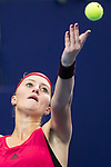 Kristina Mladenovic of France serves during the singles Round Robin match of the WTA Elite Trophy Zhuhai 2017 against Julia Goerges of Germany at Hengqin Tennis Center on November  03, 2017 in Zhuhai, China.  Photo by Yu Chun Christopher Wong / Power Sport Images