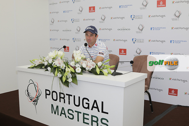 Ricardo Santos speaks to the media during Wednesday's Pro-Am of the Portugal Masters 2015 held at the Oceanico Victoria Golf Course, Vilamoura Algarve, Portugal. 15-18th October 2015.<br /> Picture: Eoin Clarke | Golffile