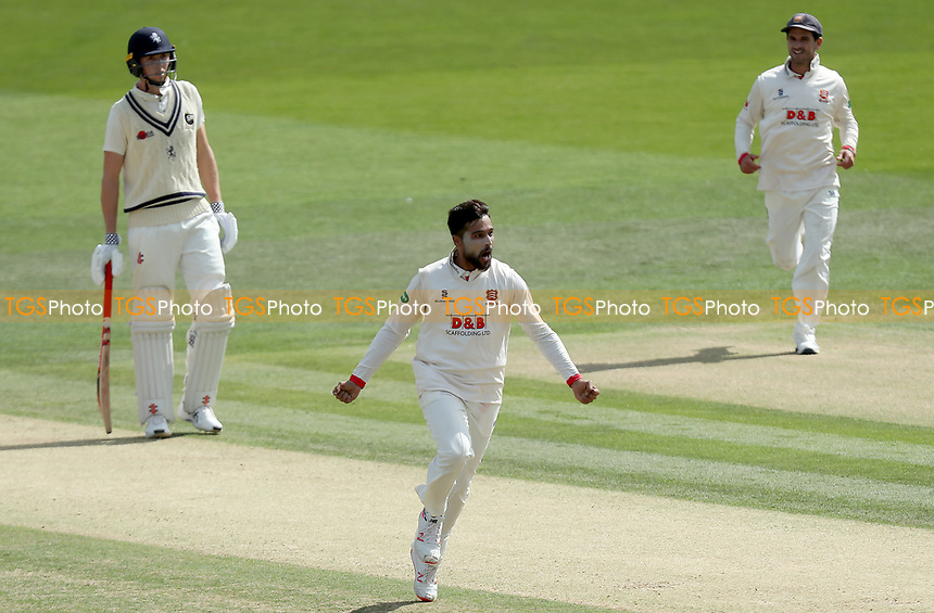 Mohammed Amir Of Essex celebrates taking the wicket of Sam Billings during Kent CCC vs Essex CCC, Specsavers County Championship Division 1 Cricket at the St Lawrence Ground on 20th August 2019