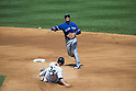Troy Tulowitzki (Blue Jays),<br /> AUGUST 9, 2015 - MLB :<br /> Troy Tulowitzki of the Toronto Blue Jays throws to first base as Brian McCann of the New York Yankees slides into second base during the Major League Baseball game at Yankee Stadium in the Bronx, New York, United States. (Photo by Thomas Anderson/AFLO) (JAPANESE NEWSPAPER OUT)