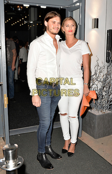SOUTHEND-ON-SEA, ENGLAND - SEPTEMBER 12:  Charlie Sims and Ferne McCann attends the opening of new Lobster and Steak restaurant 'Bourgee' on September 12, 2014 in Southend-on-Sea, England<br /> CAP/PP/SF<br /> &copy;Simon Ford/PP/Capital Pictures