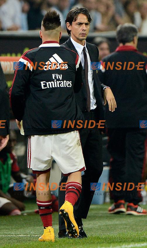 Filippo Inzaghi, Stephan El Shaarawy Milan<br /> Milano 20-09-2014 Stadio Giuseppe Meazza - Football Calcio Serie A Milan - Juventus. Foto Giuseppe Celeste / Insidefoto