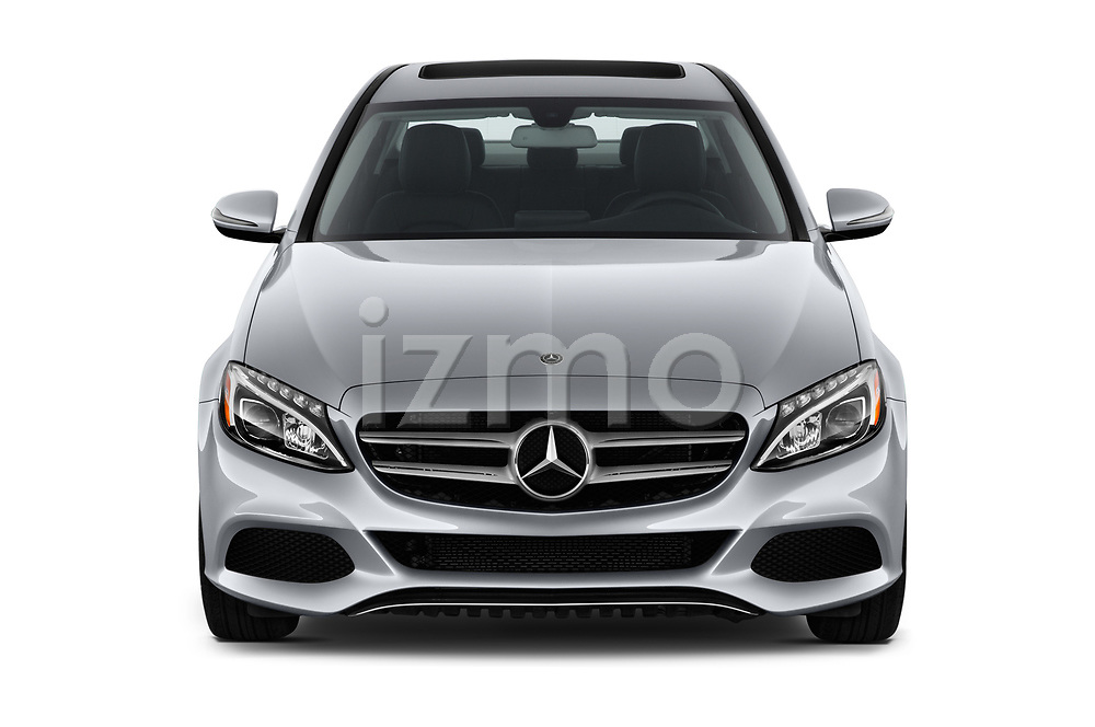 Car photography straight front view of a 2018 Mercedes Benz C-Class Sedan C350e Plug-in Hybrid 4 Door Sedan