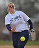 Sabrina Seeger #20 of Oceanside delivers to the plate in the top of the second inning of a Nassau County varsity softball game against MacArthur at Oceanside High School on Thursday, Mar. 31, 2016. MacArthur won by a score of 5-2.