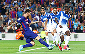 9th September 2017, Camp Nou, Barcelona, Spain; La Liga football, Barcelona versus Espanyol;  Leo Messi in action as he manages to shoot in the box
