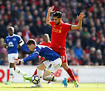 Ross Barkley of Everton in action with Emre Can of Liverpool during the English Premier League match at Anfield Stadium, Liverpool. Picture date: April 1st 2017. Pic credit should read: Simon Bellis/Sportimage