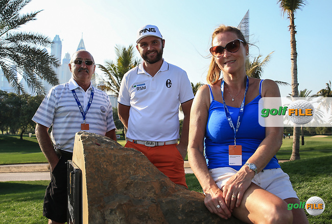 Andy Sullivan (ENG) with his parents during the Pro-Am at the 2016 Omega Dubai Desert Classic, played on the Emirates Golf Club, Dubai, United Arab Emirates.  03/02/2016. Picture: Golffile | David Lloyd<br /> <br /> All photos usage must carry mandatory copyright credit (&copy; Golffile | David Lloyd)