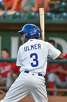 Deion Ulmer (3) of the Ogden Raptors at bat against the Orem Owlz in Pioneer League action at Lindquist Field on August 28, 2015 in Ogden, Utah. Ogden defeated Orem 14-6. (Stephen Smith/Four Seam Images)