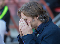 Wycombe Wanderers Manager Gareth Ainsworth covers his eyes during the Sky Bet League 2 match between Leyton Orient and Wycombe Wanderers at the Matchroom Stadium, London, England on 19 September 2015. Photo by Andy Rowland.