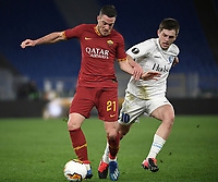 Football Soccer: UEFA Europa League round of 32 first leg AS Roma vs KAA Gent, Olympic stadium, Rome, 20 February, 2020.<br /> Roma's Jordan Veretout (l) in action with Gent's Giorgi Chakvetadze (r) during the Europa League football match between Roma and Gent at the Olympic stadium in Rome on 20 February, 2020.<br /> UPDATE IMAGES PRESS/Isabella Bonotto
