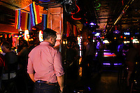 People enjoy the Stonewall Inn bar in New York. 25.06.2015. The Stonewall Inn, the birthplaces of the modern gay rights movement, the Greenwich Village bar for the LGBT community was made a New York City landmark on Tuesday,  Eduardo MunozAlvarez/VIEWpress.