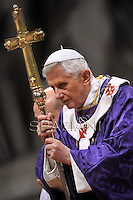 Pope Benedict XVI leads the mass for Ash Wednesday, opening Lent, the forty-day period of abstinence and deprivation for the Christians, before the Holy Week and Easter, on February 13, 2013