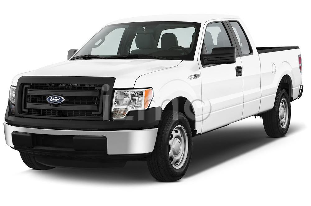 Front three quarter view of a 2013 Ford F150 XL Super Cab