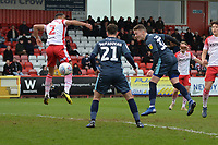 Caolan Lavery of Bury heads wide during Stevenage vs Bury, Sky Bet EFL League 2 Football at the Lamex Stadium on 9th March 2019