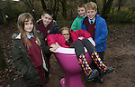 School visit to Welsh Water Education Center.<br /> Ella Edwards, Cody Hughes, Carys Jones, Josh Chislett &amp; Oliver White pupils from Beaufort Hill Primary School.<br /> 17.11.14<br /> &copy;Steve Pope-FOTOWALES
