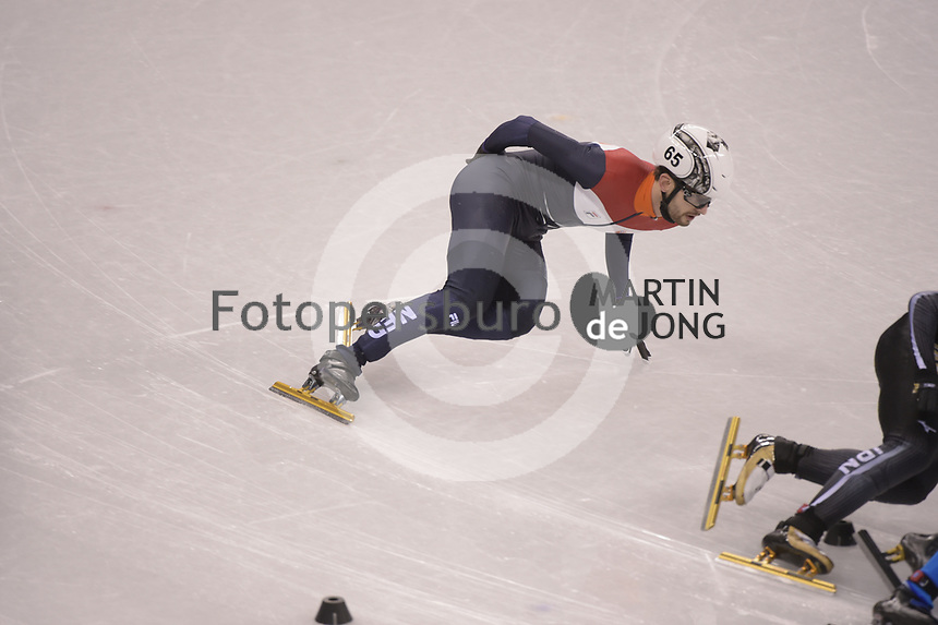 OLYMPIC GAMES: PYEONGCHANG: 17-02-2018, Gangneung Ice Arena, Short Track, Quarterfinals 1000m Men, Itzhak de Laat (NED), ©photo Martin de Jong