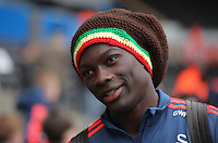 Bafetimbi Gomis of Swansea arrives before the Barclays Premier League match between Swansea City and Crystal Palace at the Liberty Stadium, Swansea on February 06 2016