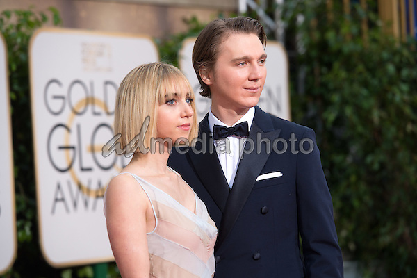 """Zoe Kazan, actress, and Paul Dano, Golden Globe nominee for BEST PERFORMANCE BY AN ACTOR IN A SUPPORTING ROLE IN A MOTION PICTURE for his role in """"Love & Mercy,"""" arrive at the 73rd Annual Golden Globe Awards at the Beverly Hilton in Beverly Hills, CA on Sunday, January 10, 2016. Photo Credit: HFPA/AdMedia"""