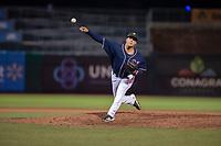 Northwest Arkansas Naturals pitcher Andres Sotillet (39) delivers a pitch on May 18, 2019, at Arvest Ballpark in Springdale, Arkansas. (Jason Ivester/Four Seam Images)