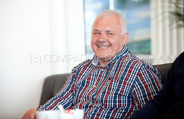 LDD politician Jean-Marie Dedecker and KV Oostende football coach Frederik Vanderbiest (Belgium, 17/06/2014)