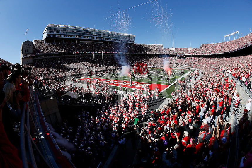 The Ohio State Buckeyes take the field prior to the NCAA football game against the Indiana Hoosiers at Ohio Stadium in Columbus on Oct. 8, 2016. (Adam Cairns / The Columbus Dispatch)